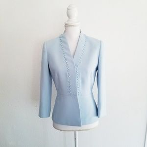 Gorgeous Tahari light blue pearled Blazer